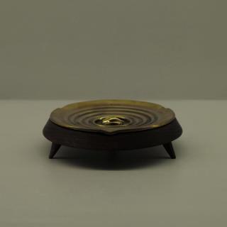 对山-三足圆香盘烟缸(黄铜+黑胡桃)